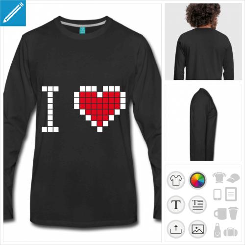 t-shirt coeur pixels à personnaliser en ligne