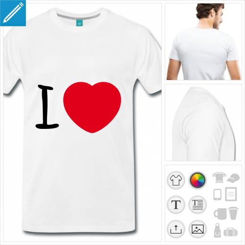 T-shirt I love rond, I love et cœur arrondi à imprimer en ligne.