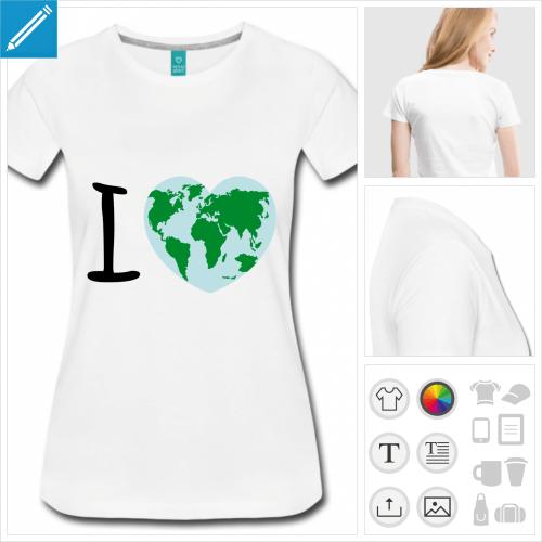 T-shirt I love Terre, planète en forme de cœur et I majuscule à personnaliser en ligne.