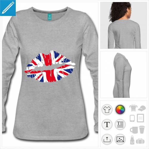 t-shirt noir drapeau anglais à personnaliser en ligne