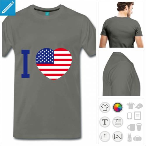 T-shirt I love usa, et cœur aux couleurs de l'Amérique.