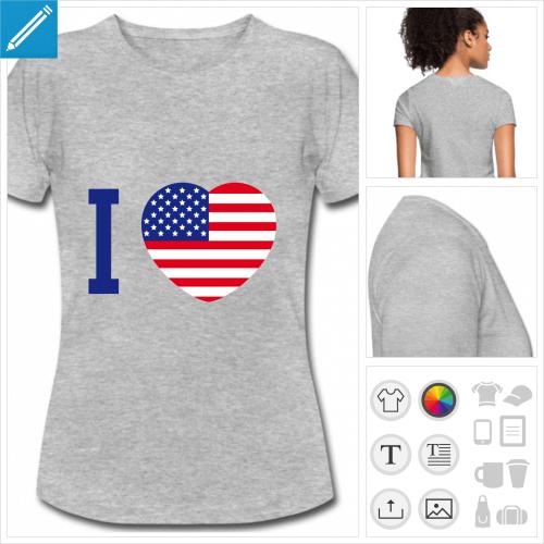 t-shirt blanc Amérique à imprimer en ligne