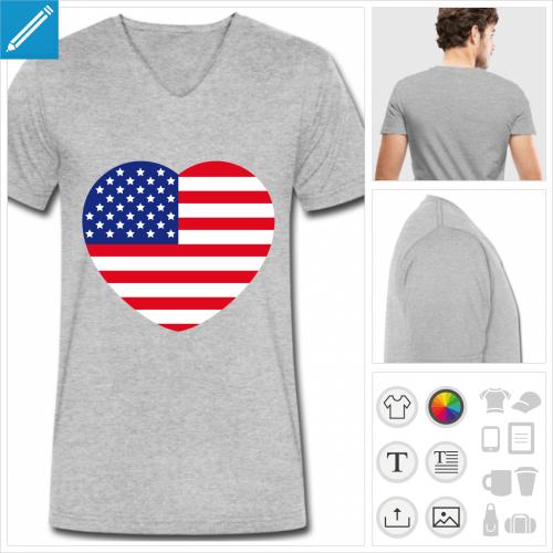 t-shirt I love usa personnalisable