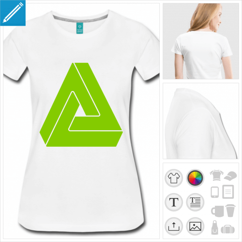 T-shirt illusion d'optique, triangle impossible de Penrose, dessiné en une couleur personnalisable.