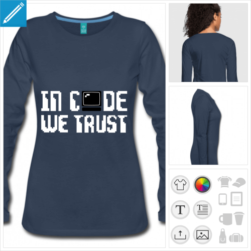 t-shirt manches longues développeur à imprimer en ligne
