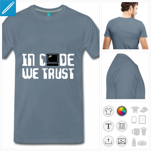 T-shirt informatique, motif geek in code we trust avec ordinateur stylisé et typo pixel.