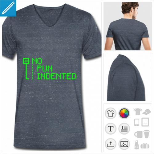 t-shirt bleu développeur personnalisable, impression à l'unité