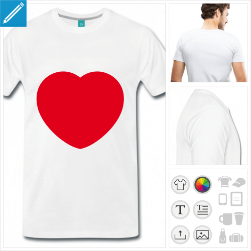 T-shirt j'aime coeur à personnaliser, ajoutez votre texte et créez un t-shirt j'aime en ligne
