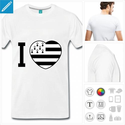 T-shirt j'aime la Bretagne, I love bretagne et cœur Breizh