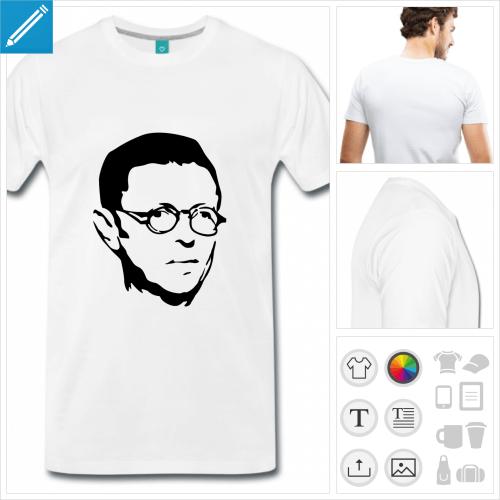 t-shirt homme écrivain à créer en ligne