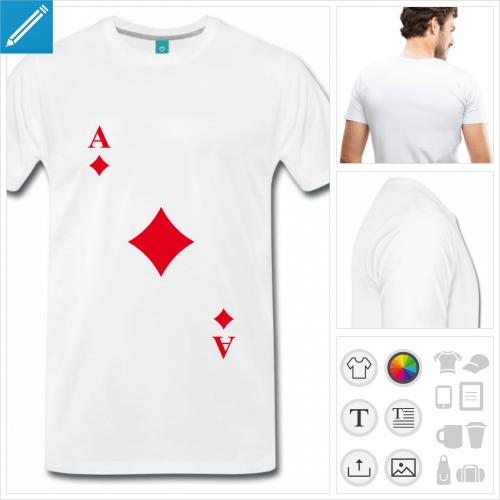 T-shirt jeu de carte, as de carreau diagonal à imprimer, personnalisez votre t-shirt carte en ligne.