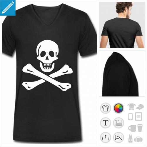 t-shirt noir Jolly Roger à personnaliser