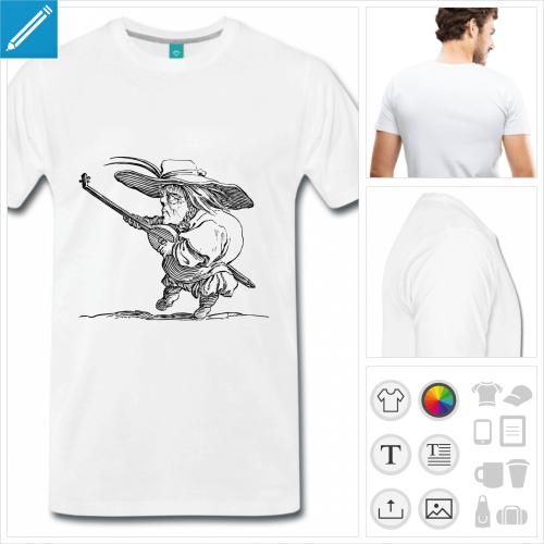 T-shirt joueur de luth, d'après une gravure de Callot, à personnaliser et imprimer en ligne.