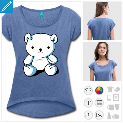 t-shirt femme nounours personnalisable