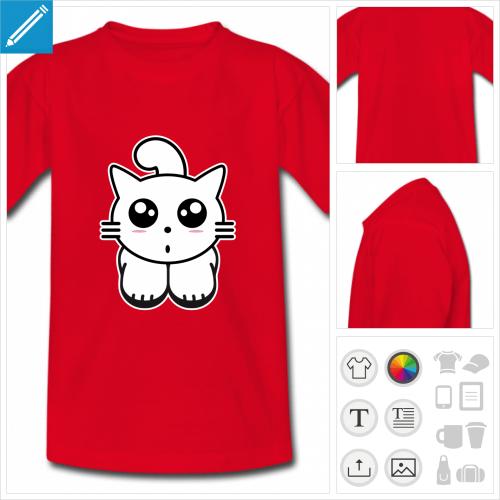 t-shirt chaton kawaii personnalisable