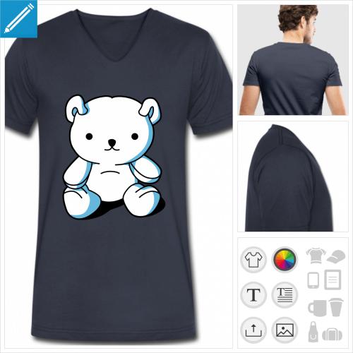 t-shirt bleu marine nounours kawaii à personnaliser et imprimer en ligne