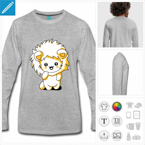 t-shirt homme chat lion à personnaliser en ligne