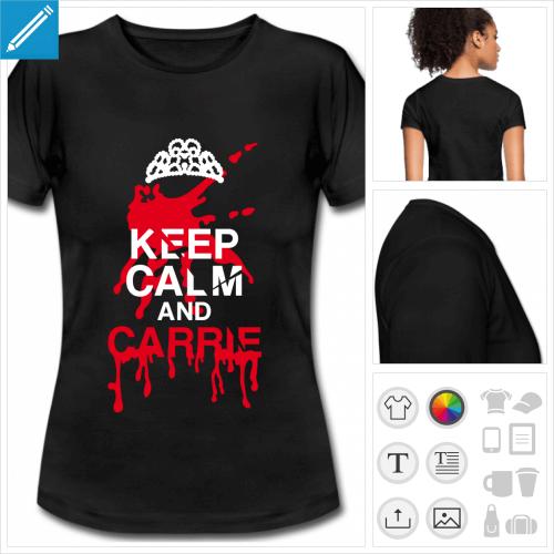 t-shirt noir basique keep calm humour à personnaliser en ligne