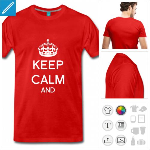 T-shirt keep calm à créer en ligne en ajoutant votre texte