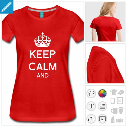 t-shirt rouge keep calm à compléter à créer soi-même