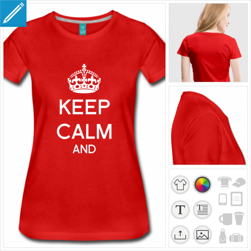 t-shirt rouge keep calm à personnaliser et imprimer en ligne