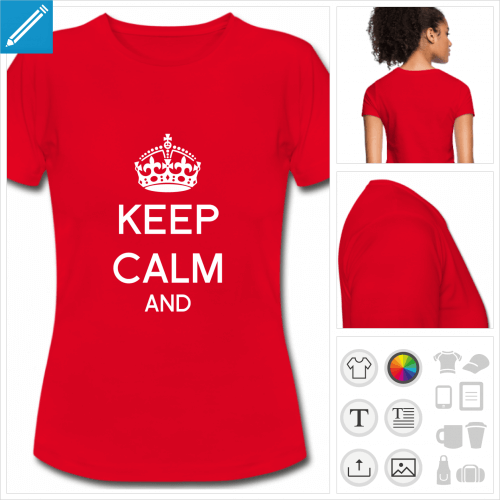 t-shirt rouge keep calm à personnaliser en ligne