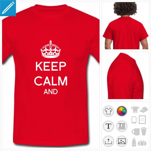 tee-shirt rouge keep calm votre texte personnalisable, impression à l'unité