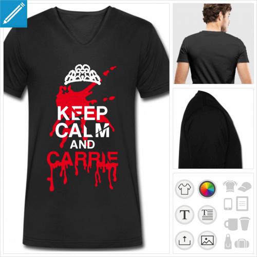 t-shirt pour homme keep calm Halloween à personnaliser et imprimer en ligne