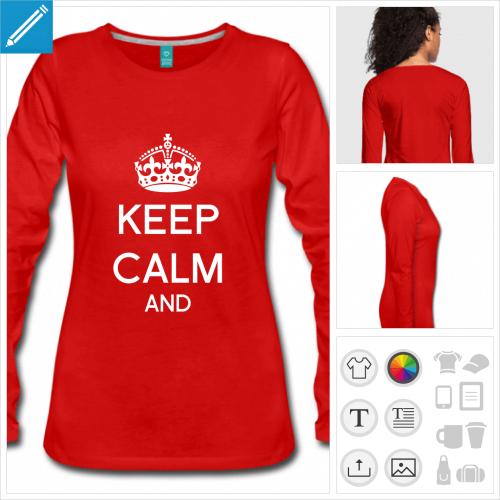 t-shirt rouge keep calm à compléter à personnaliser, impression unique
