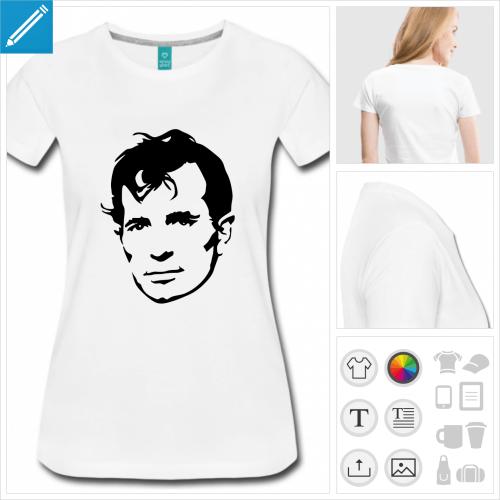 T-shirt Kerouac, portrait de Jack Kerouac dessiné en noir, couleur personnalisable à imprimer sur t-shirt blanc.