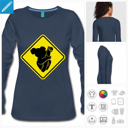 t-shirt femme koala à personnaliser, impression unique