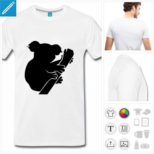 T-shirt koala dessiné de profil, picto plein à la couleur personnalisable à imprimer en ligne.