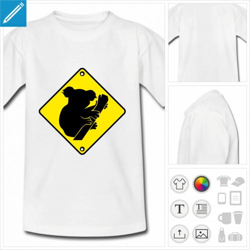 tee-shirt panneau koala à créer en ligne