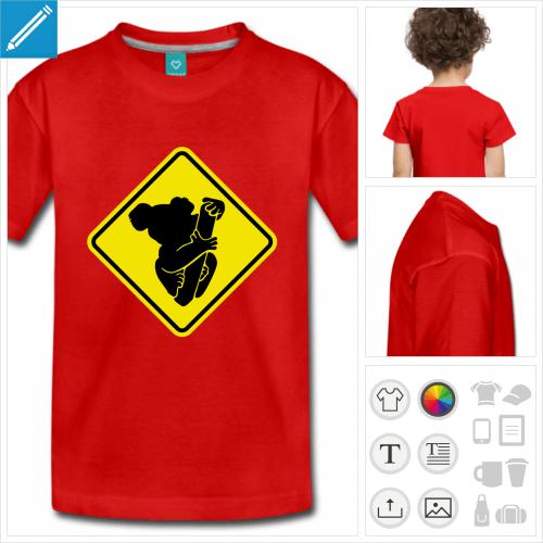 t-shirt à manches courtes koala à personnaliser, impression unique