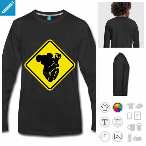 t-shirt noir panneau koala personnalisable, impression à l'unité