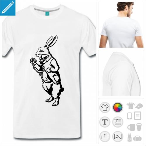 T-shirt Lapin Blanc d'Alice au pays des merveilles, à personnaliser et imprimer en ligne.