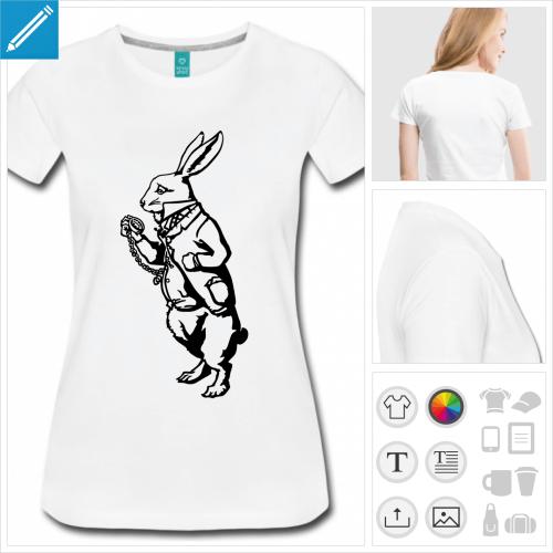 t-shirt femme lapin blanc à créer en ligne