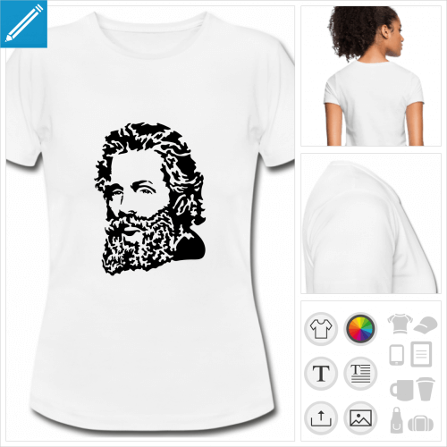 t-shirt blanc écrivain à créer en ligne