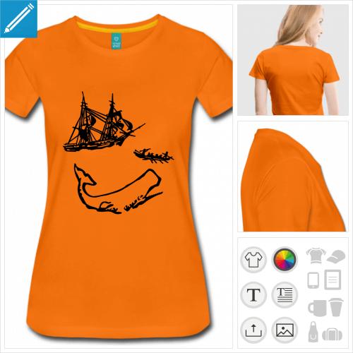 t-shirt femme moby dick à personnaliser et imprimer en ligne