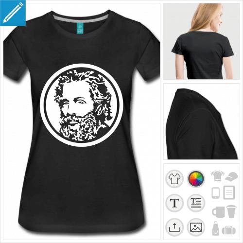 t-shirt manches courtes écrivain à personnaliser et imprimer en ligne