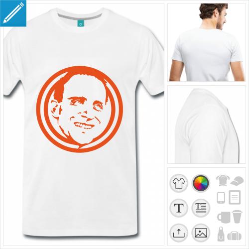 T-shirt littérature, Boris Vian, portrait à personnaliser.