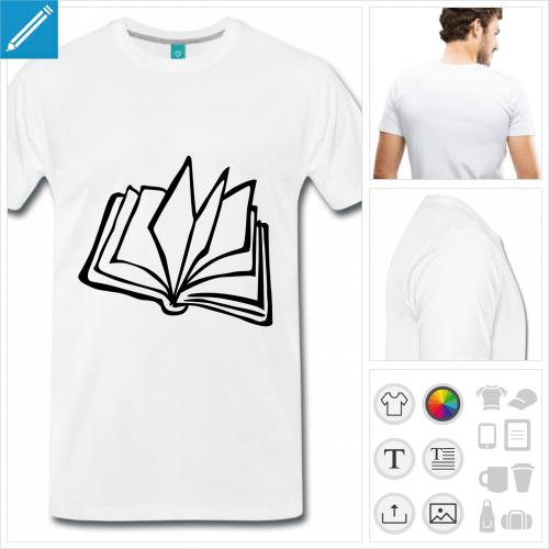 T-shirt livre ouvert posé sur la tranche à imprimer en ligne.