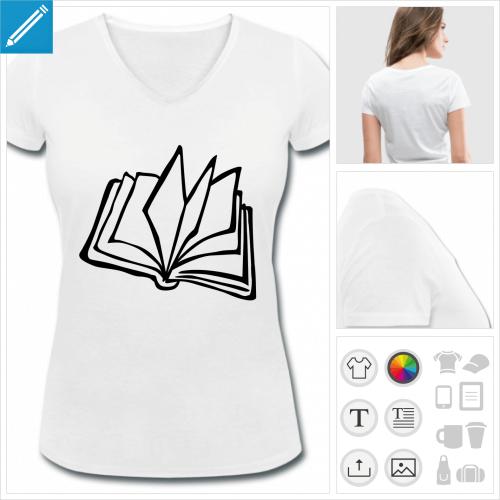 t-shirt col v lecture à personnaliser en ligne