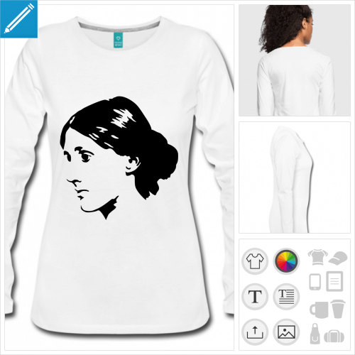 tee-shirt Virginia Woolf personnalisable, impression à l'unité