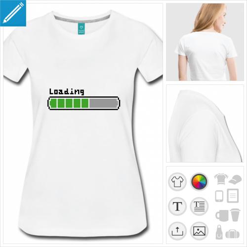 T-shirt loading, barre de chargement rétro dessinée en pixels, aux couleurs personnalisables.