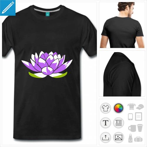 T-shirt lotus, fleur de lotus 3 couleurs à imprimer en ligne, personnalisez les couleurs.