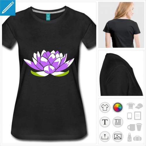 t-shirt femme fleur de lotus personnalisable, impression à l'unité