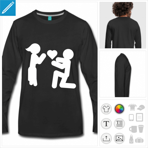 tee-shirt picto love à personnaliser en ligne