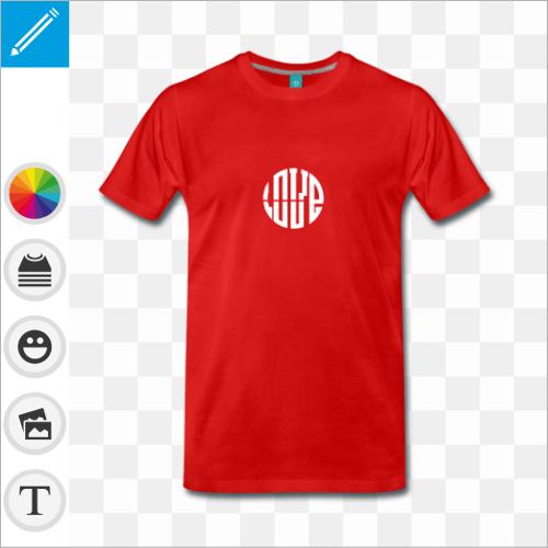 T-shirt  LOVE personnalisé à manches courtes. Modèle Spreadshirt.