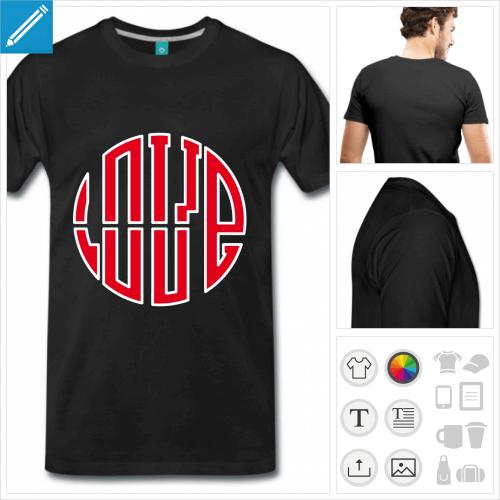 T-shirt Love idéogramme, love écrit en lettres formant un rond. Les lettres sont bicolores.